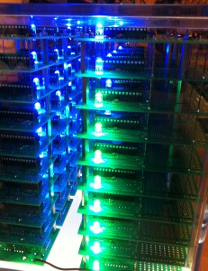 72 nodes of the parallel computer have finished their task and signal the blue LED.